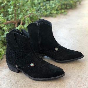 Matisse Black Suede Whipstitch Western Booties